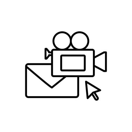 envelope mail with video camera vector illustration design