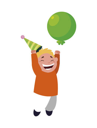 cute happy boy with birthday balloons helium vector illustration design Stock Illustratie