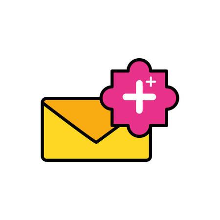 envelope mail with pluss symbol vector illustration design