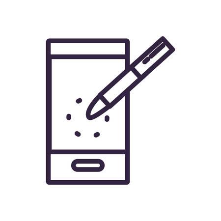 smartphone device with pen vector illustration design Illusztráció
