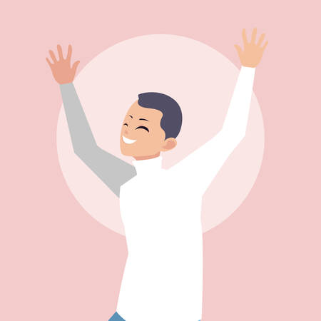 young man happy celebrating with hands up vector illustration design Foto de archivo - 130158012
