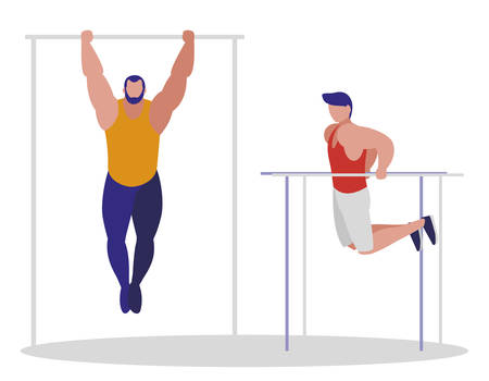 athletic men practicing exercises vector illustration design Foto de archivo - 130158036