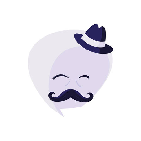 speech bubble with hipster mustache and hat vector illustration design Çizim