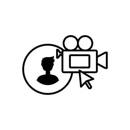 male user account with video camera vector illustration design