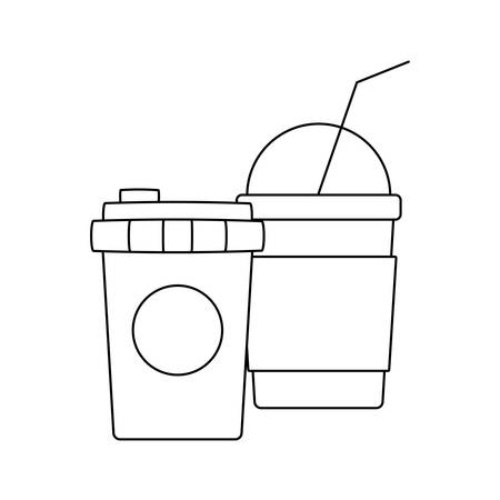 delicious milkshake with coffee container plastic vector illustration design