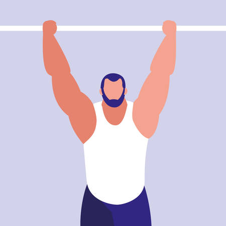 young man practicing gymnasia in bars vector illustration design