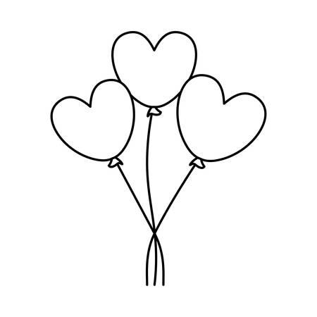 balloons helium in shape heart isolated icon vector illustration design Illusztráció