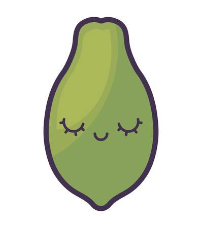 fresh papaya fruit character vector illustration design