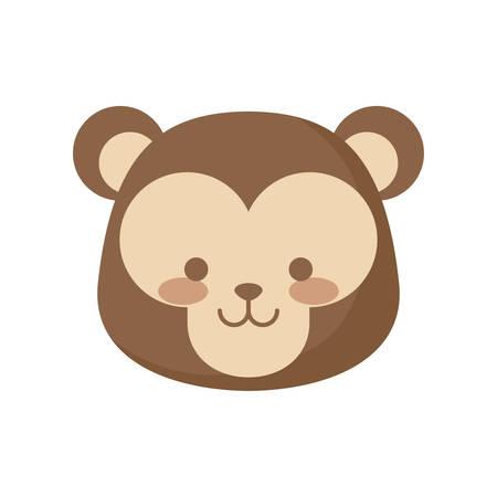 head of cute monkey animal character vector illustration design Illusztráció