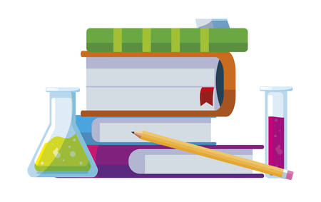pile text books with tube test and supplies vector illustration design