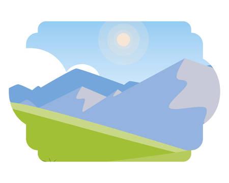 field camp and mountains landscape scene vector illustration design Ilustração