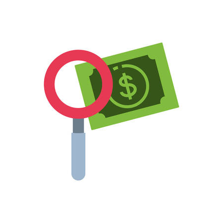 magnifying glass with bill dollar vector illustration design