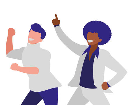 interracial dancers couple disco style characters vector illustration design