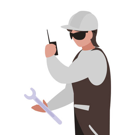 industrial worker with tools avatar character vector illustration design  イラスト・ベクター素材