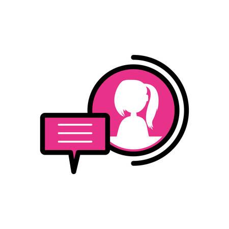 female user acount with speech bubble vector illustration design Ilustração