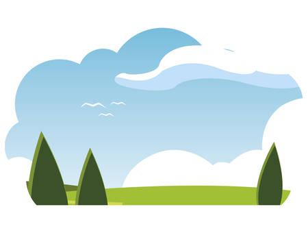 field camp landscape scene vector illustration design Ilustração