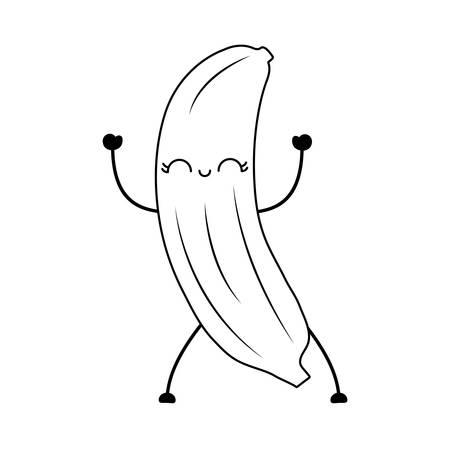 fresh banana fruit character vector illustration design