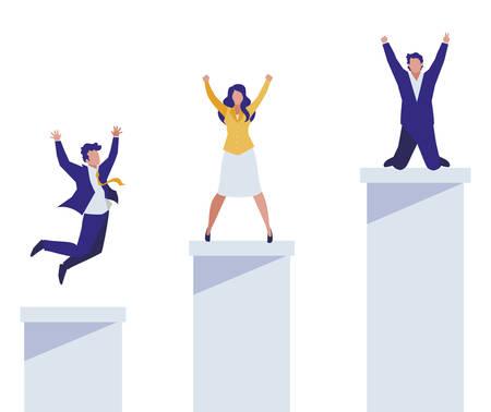 elegant business people celebrating in podium vector illustration design