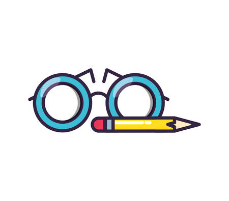 optical eyeglasses with pencil vector illustration design