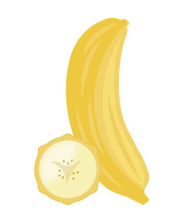 fresh banana with slice fruits healthy vector illustration design Ilustração