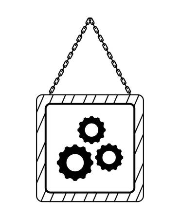 signaling hanging with gears isolated icon vector illustration design