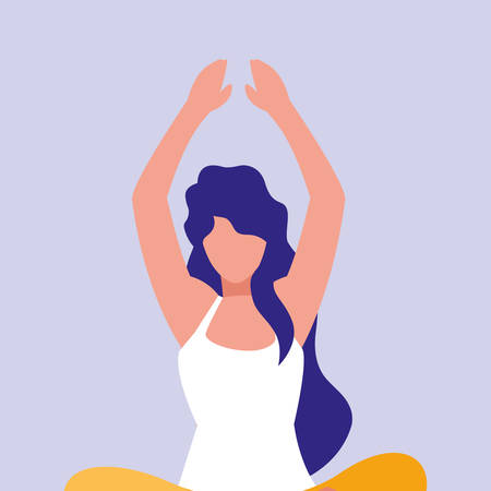 woman practicing yoga avatar character vector illustration design