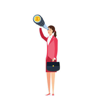 young businesswoman with telescope vector illustration design