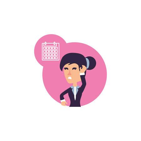 business woman stressed with calendar reminder vector illustration design