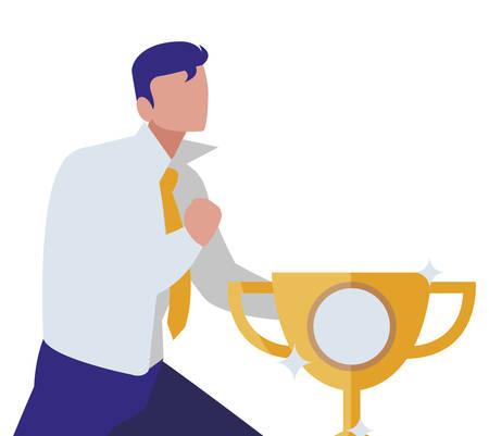 elegant businessman celebrating with trophy cup vector illustration design