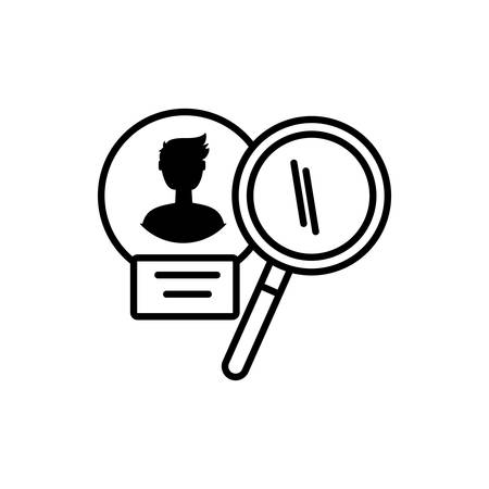 male user acount with magnifying glass vector illustration design
