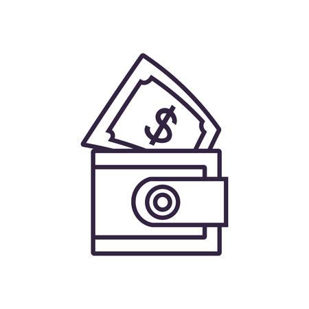bill dollar with wallet money vector illustration design