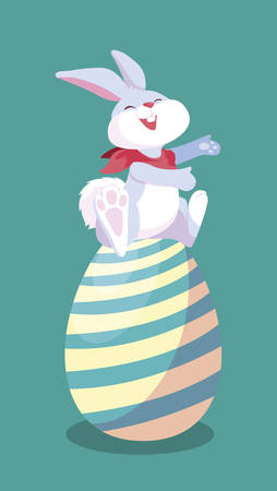 cute rabbit easter with egg painted vector illustration design Ilustração