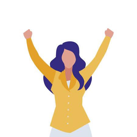 elegant businesswoman celebrating character vector illustration design Ilustração