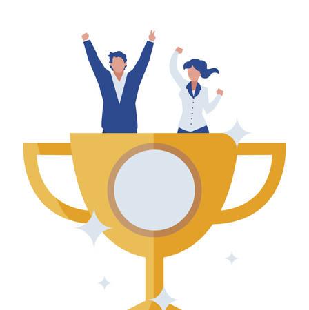 elegant business couple celebrating in trophy cup vector illustration design