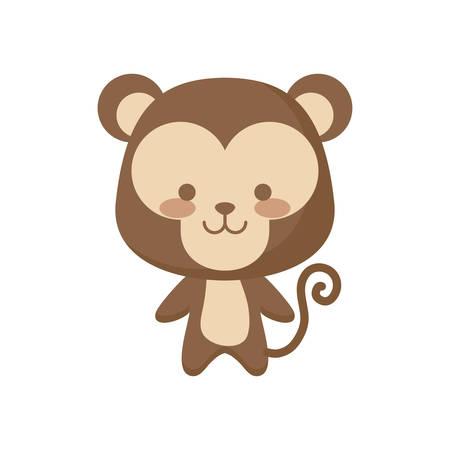cute monkey animal character vector illustration design Illusztráció