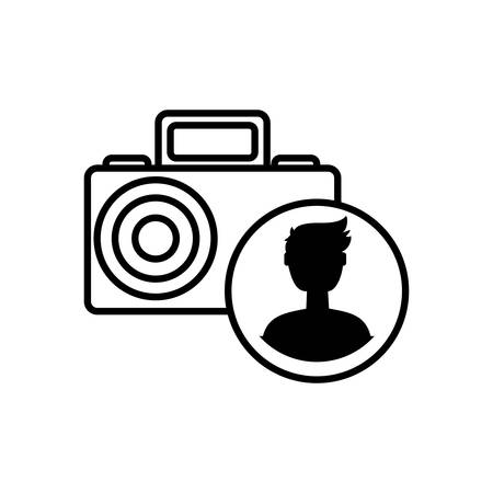 camera photographic with male user acount vector illustration design