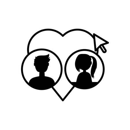 users account with heart love and cursor vector illustration design Ilustração