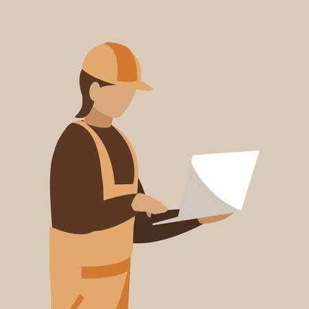 industrial worker with laptop avatar character vector illustration design