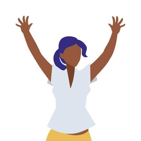 elegant businesswoman black celebrating character vector illustration design