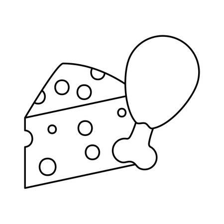 delicious cheese with leg chicken vector illustration design Ilustração