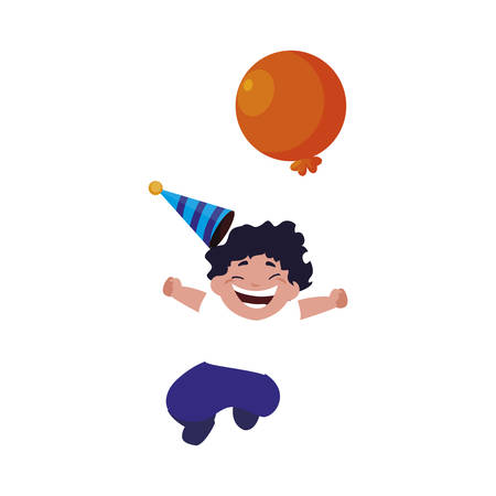 cute happy boy with birthday balloons helium vector illustration design Ilustração