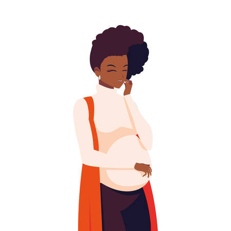 beautiful afro pregnancy woman character vector illustration design 向量圖像
