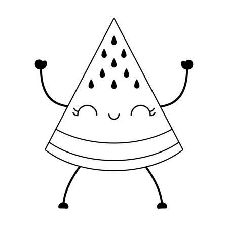 slice of watermelon fruit character vector illustration design