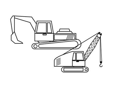 under construction excavator and crane vehicle vector illustration design  イラスト・ベクター素材