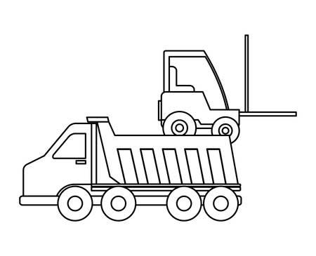 under construction dump truck and forklift vector illustration design  イラスト・ベクター素材