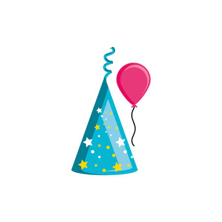 party hat with balloon helium vector illustration design