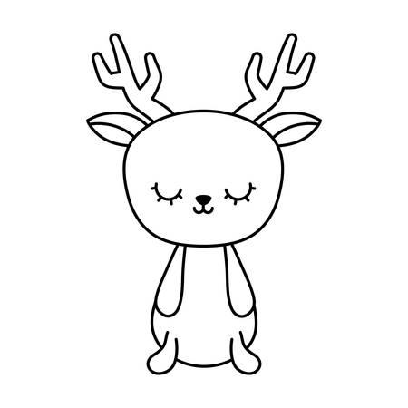 cute reindeer animal isolated icon vector illustration design Ilustração