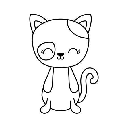 cute cat animal isolated icon vector illustration design Illusztráció
