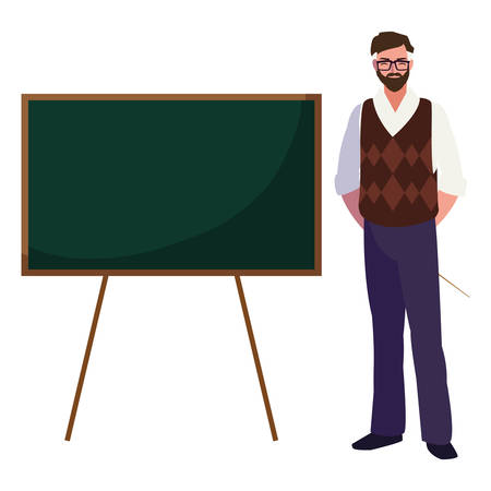 teacher male with chalkboard character vector illustration design  イラスト・ベクター素材