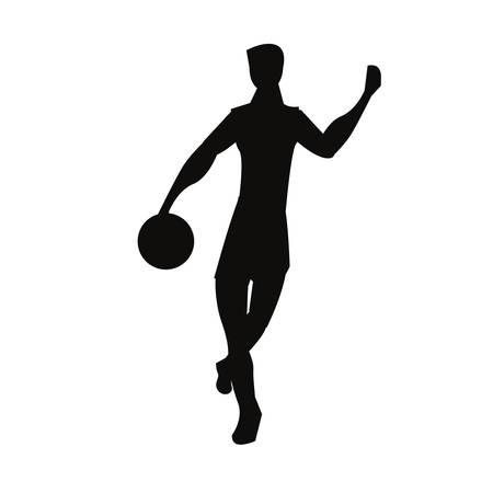 player basketball sport ball silhouette vector illustration Ilustração